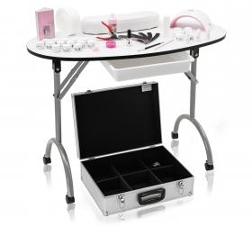 Mobiler Nagelstudio Tisch weiss + Set und Lichthärtungsgerä