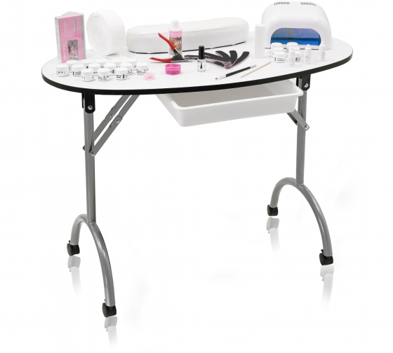 Mobiler Nagelstudio Tisch weiss + Set und Lichthärtungsgerät LI 01 01